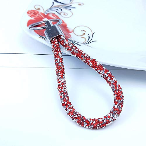 ZYHYCH Crystal PU Cuero Cuerda Llavero joyería, para Mujeres Hombres Regalo Coche Llavero Bolso Colgante Caramelo Colores Llavero, Rojo, 13 cm
