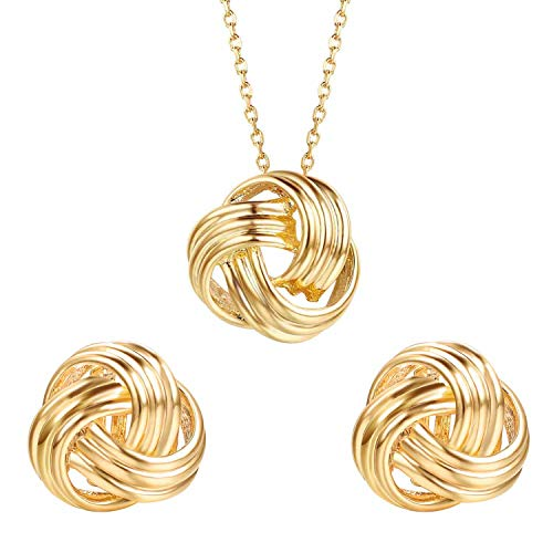 Yoursfs Forever Love Knot Necklace Clip on Gold Earrings Vintage Knot Jewelry Set for Mother Day Gift