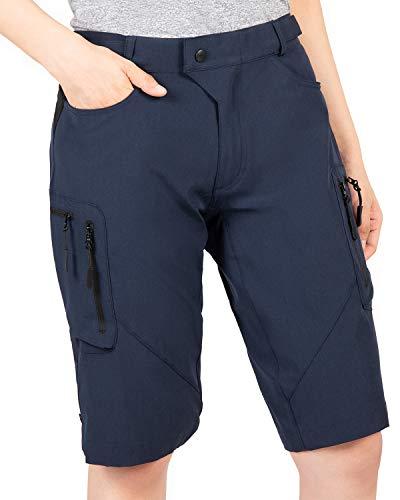 Cycorld MTB Hose Damen Radhose, Schnelltrocknend Mountainbike Hose, Atmungsaktiv MTB Shorts Fahrradhose Damen Outdoor Bike Shorts (XL, Navyblau)