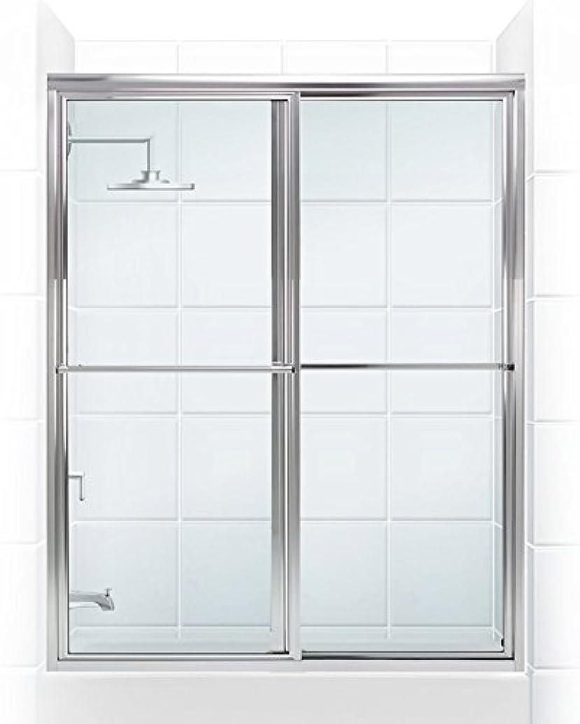 Coastal Shower Doors 1552.58B-C Newport Series Framed Sliding Tub Door with Towel Bar in Clear Glass, 52