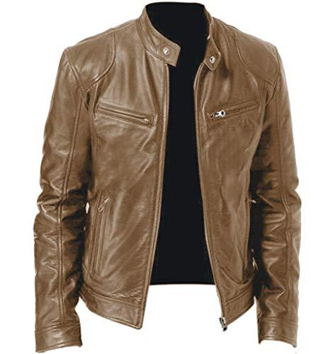 SHE.White Herren Lederjacke Bikerjacke Basic mit Reißverschluss Business Casual Leder Jacke in vielen Farben Männer Winter Vintage Oversize Coats Outwear Mäntel S-5XL
