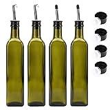 Kingrol, paquete de 4 unidades de 17 onzas Botellas dispensadoras de aceite de oliva de cristal, aceite verde oscuro y vinagre con boquillas de acero inoxidable