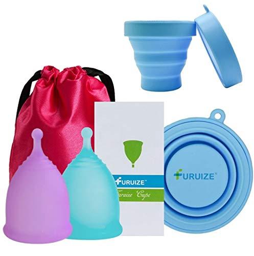 Set 2 Copas Menstrual Furuize Sport con 1 Taza de Esterilización. Silicona suave de grado médico 100%. Previene infecciones y fortalece el suelo pélvico. Alternativa saludable y ecológica Talla S y L