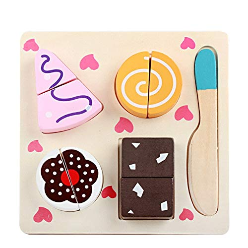 AGOOLZX Wooden Simulation Fruit/Vegetable/Dessert Cut-Out Set Wooden Magnetic Toys Children's Kitchen Cooking Games Early Education Gifts Kitchen Toys