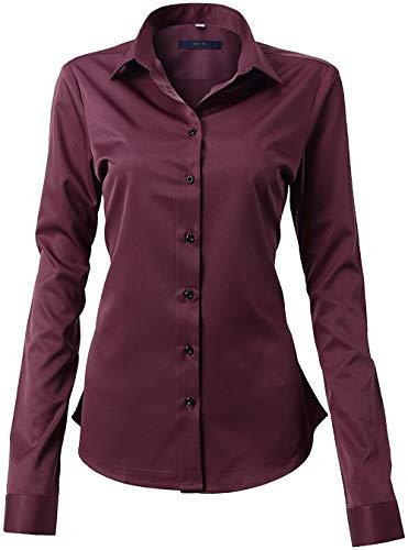 FLY HAWK Damen Hemd Bluse Basic Bambusfaser Hemdbluse Slim Fit Arbeitshemden Langarm Stretch Hemden Freizeit Business Elegant Hemd Größe 34 bis 52,Dunkelrot,40 (UK 12)