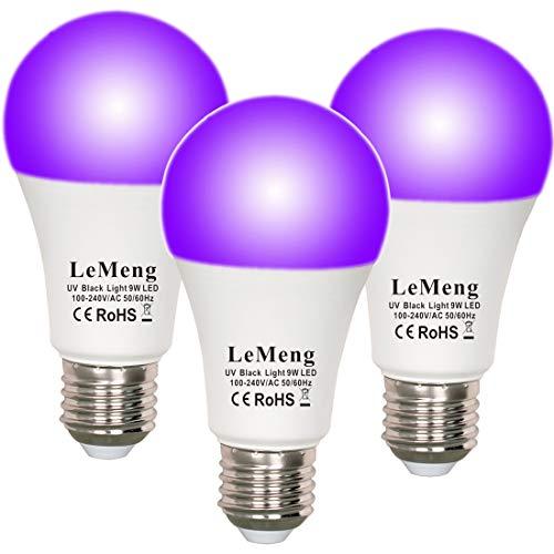 LeMeng LED Black Lights Bulb 9W Blacklight A19(75Watt Equivalent), E26 Medium Base 120V, UVA Level 395-400nm, Glow in The Dark for Blacklights Party, Body Paint, Fluorescent Poster- 3 Pack