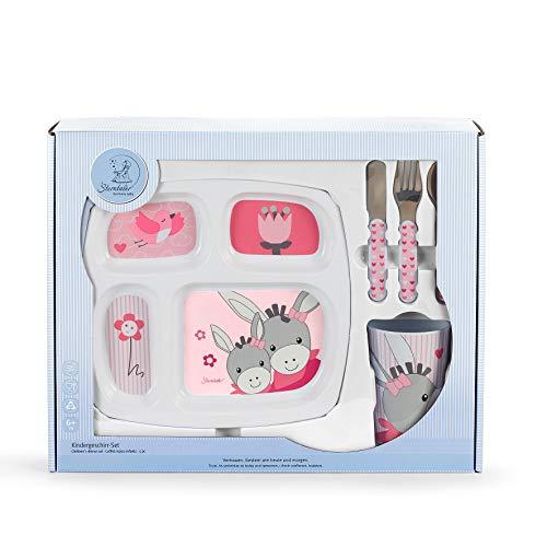 Sterntaler Coffret vaisselle Emmi Girl, assiette, Tasse, cuillère, fourchette, couteau, à'ge : à partir de 6 mois, Rose