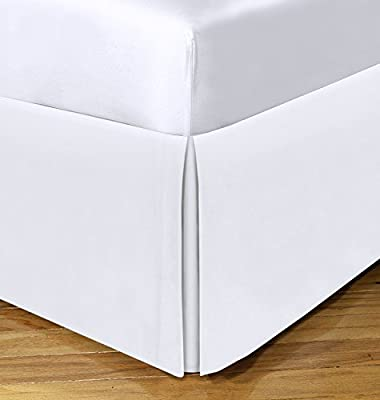 """Space Maker Extra-Long 21"""" Drop Length Bed Skirt, Queen, White by Levinsohn Textiles"""