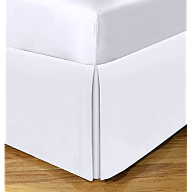 Today's Home Microfiber Bed Skirt Dust Ruffle Classic Tailored Styling 14  Drop Full, White