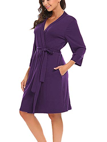 Jersey Robe Damen Morgenmantel Bademantel Sommer Schwangere Saunamantel Schlafanzug Pyjamas weich V Ausschnitt schlafmantel Kimono Lila L