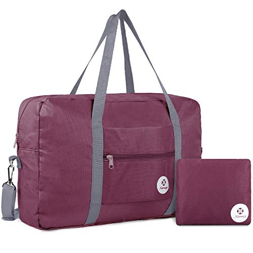 For Spirit Airlines Foldable Travel Duffel Bag Tote Carry on Luggage Sport Duffle Weekender Overnight for Women and Girls (3112 Wine Red)
