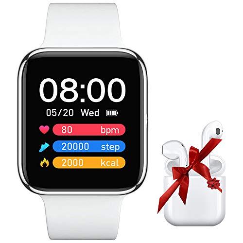 SNEGDO Smartwatch, Reloj Inteligente Hombre Mujer con Monitor de Sueño Contador de Caloría, Pulsera Actividad Inteligente IP67 para Android iOS - Blanca