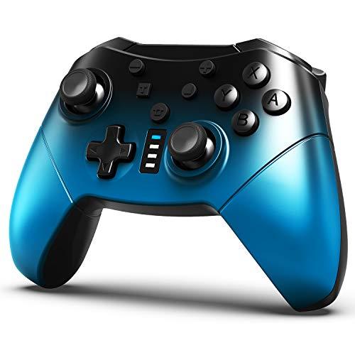 Wireless Pro Controller für Nintendo Switch, 6-Achsen-Dual-Motor-Vibrationsunterstützung, Turbo-Funktion, kompatibel mit Nintendo Switch/Switch Lite Konsole (Farbverlauf Blau)