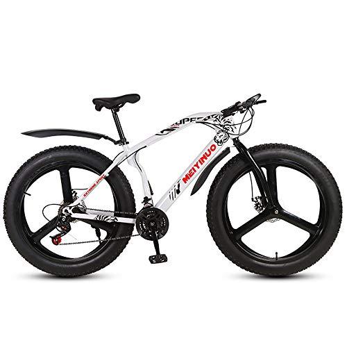 Mountain Bike Uomo, Mountain Bike, 26 Pollici Fat Bike da Montagna, Telaio in Acciaio Ad Alto Tenore di Carbonio Biciclette, Bicicletta Biammortizzata,27 Speed,Bianca,Three Cutter Wheel