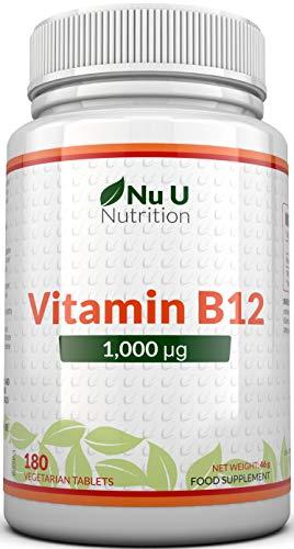 Vitamine B12 1000μg - Puissance Élevée de B12 Méthylcobalamine - 180 Comprimés Végétaliens (Approvisionnement pour 6 Mois) - Fabriqué au Royaume-Uni par Nu U Nutrition