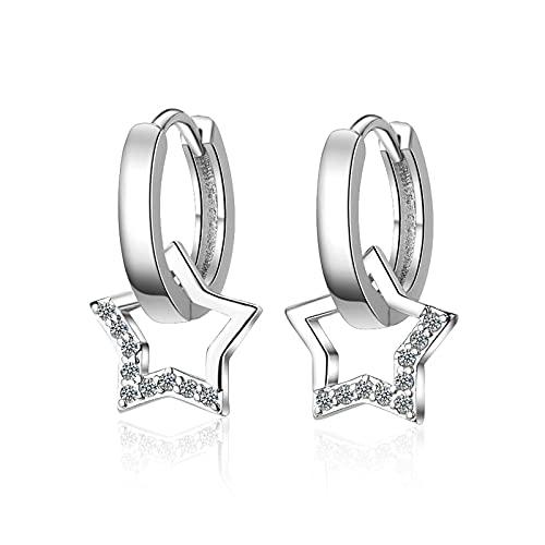 925 Sterling Silver Zircon Star Jewelry Forma Redonda Lindo Estilo de Moda Pendientes para Mujeres Boda de Novia Boda