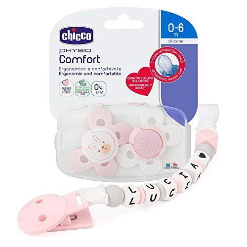 RUBY - Chupetero Personalizado para Bebe con Nombre Bola Silicona Antibacteriana con Pinza de Plástico (Rosa Pastel, Pack Chupetes 0-6m)