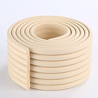 2 Meters (6.5 Ft) Long 8 cm Wide Table Wall Edge Protectors Foam Baby Safety Bumper Guard Protector(Rice White)