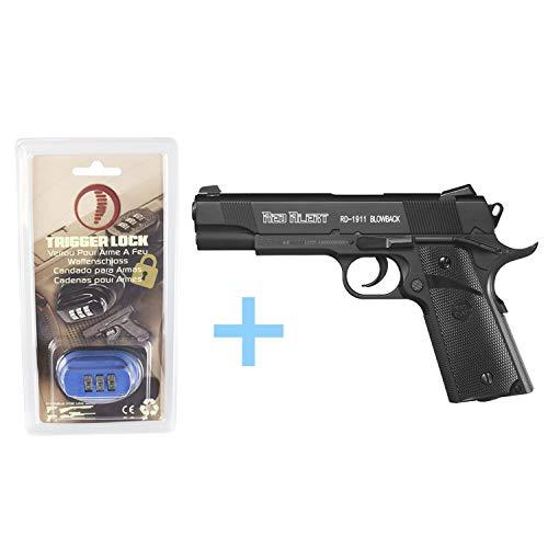 Gamo Pack Druckluftpistole (CO2) Red Alert RD-1911 Blowback, Gaspistole, Leistung 3 Joule, halbautomatische Bleipistole Kaliber 4,5 mm, Kapazität 20 BBS + Yatek Sicherheitsschloss