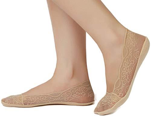 JARSEEN Damen Füßlinge Spitze Unsichtbare Ballerina Socken mit Rutschfest Silikon(4Paar ein Pack) (EU 35-38, 2Beige+2Schwarz)