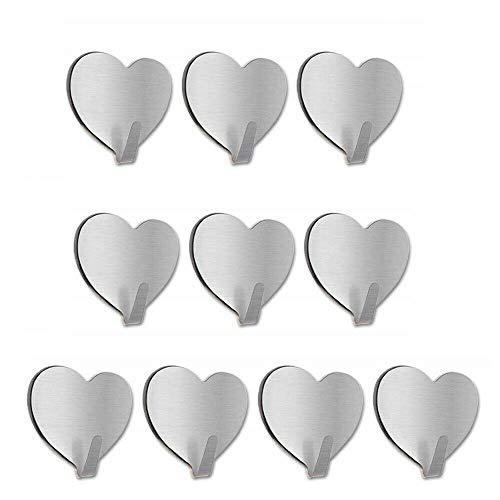 WHK 10 Piezas de Ganchos de corazón, Cocina Baño Autoadhesivo Montado en la Pared Gancho de Pared Llavero Ganchos Multiusos