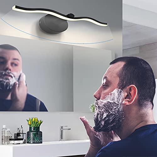 Lámpara LED para espejo de baño de 455 mm, lámpara para espejo de baño Homemow, luz negra 9 W, 4000 K, luz blanca neutra, 585 lm para lámpara de baño, tocador, iluminación de pared o armario