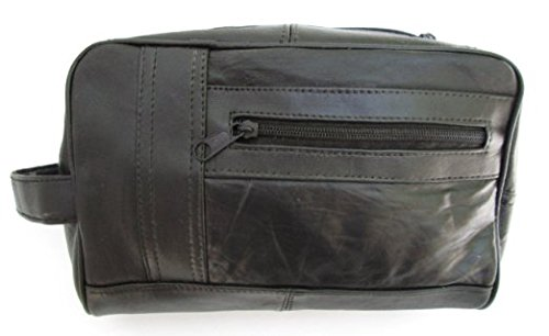 Mens Black Leather Shaving Kit T...