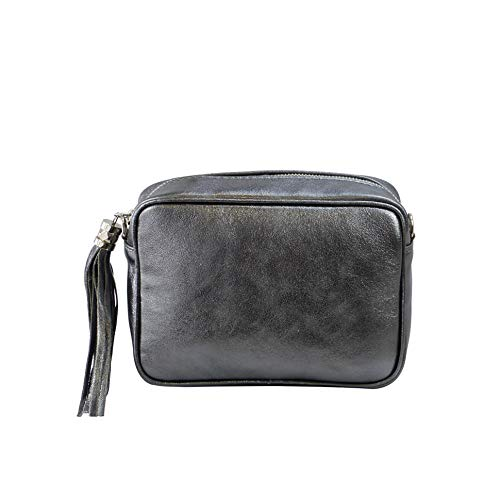 SH Leder Echtleder Umhängetasche mittel kleine Tasche Abendtasche Clutch Crossbody Bag Messenger Handtasche mit Reißverschluss 21x15cm Chiara G209 (Anthrazit Metallic)