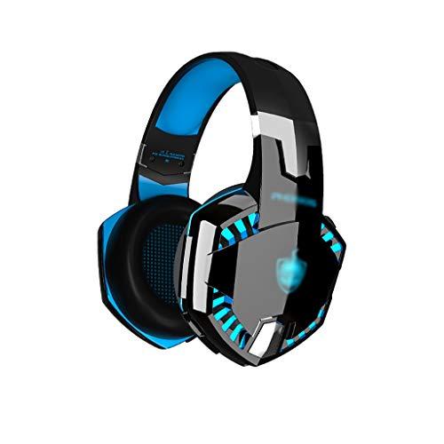 ZZL Bluetooth sobre Auriculares para El Oído Auriculares Inalámbricos de Bajos Ajustables con Modo Cableado para Teléfonos (Color : Blue)