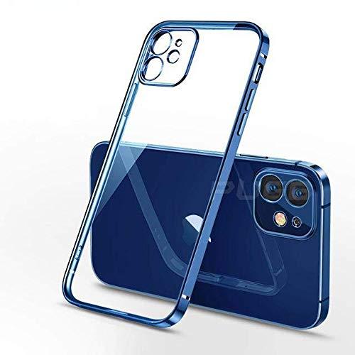 Carcasa de TPU transparente con marco cuadrado de lujo compatible con iPhone 12 11 Pro Max Mini compatible con iPhone X XR XS 7 8 Plus SE 2020 cubierta suave transparente