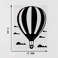 MX-XXUOUO 12.3X15.6cm熱気球雲の中車のステッカーのビニールデカールアートデコレーションブラック/シルバー10A-0135-ブラック,2 PCS