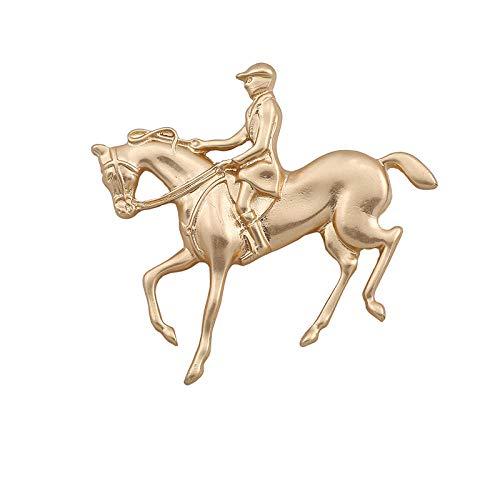 ROTOOY Nuevo Vintage Color Dorado Caballero Caballo Animal Broche Pin para Mujeres...