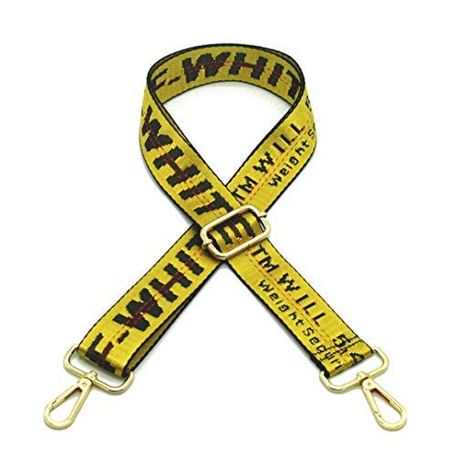3.8Cm Tracolle larghe Borse Cintura Cinturino in Nylon tessuta Cinghia per tracolla regolabile Messenger Bag Maniglia KZ1001 Yellow Gold Buckle