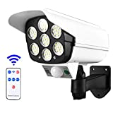 BAHER Solar Light Dummy Camera with PIR Motion Sensor, Wireless Outdoor Security Fake Camera, IP66 Waterproof Powerful LED Floodlight for Porch Garden Patio Driveway