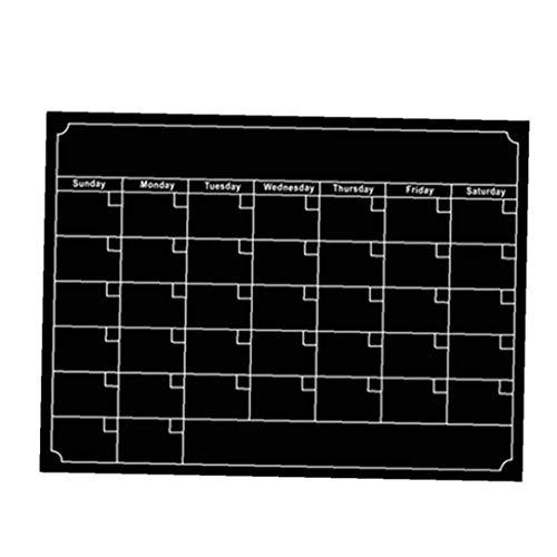 Calendario de borrado en seco mensual Ajuste calendarios magnéticos para Duradera Junta Negro Frigorífico semanal Cocina Nevera Planner (Negro) Conjuntos estacionarios