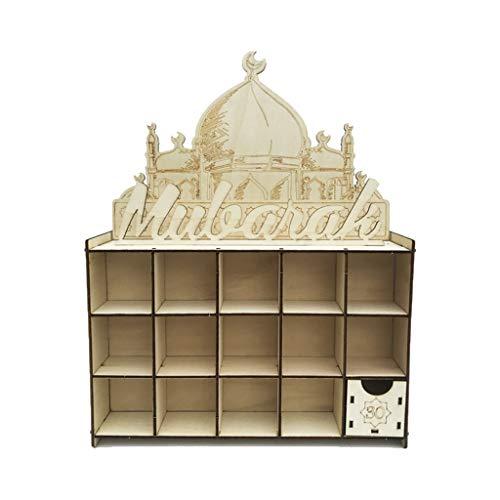 KunmniZ Cajón de madera Eid Mubarak Ramadán calendario de Adviento cuenta atrás musulmán islámico DIY decoración familiar