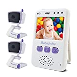 Moonybaby Value 100 Non-WiFi Baby Monitor, 2 Cameras and 2.4 Inch Monitor, Long Range, Auto Night Vision, 2 Way Talk Back, Zoom in, Power Saving and VOX, Voice Activation