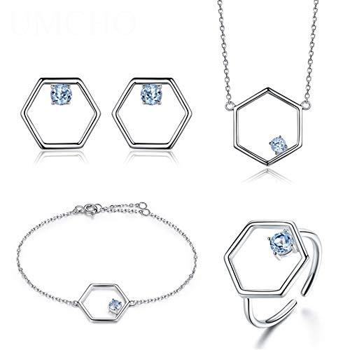 Natural Blue Topaz sieraden set 925 Sterling zilveren ketting Ring Oorbellen Armband voor Gift Vrouwen Wedding Party Jewelry,1