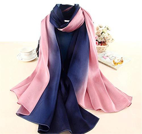 XLNSWJ Damen Farbverlauf Seidenschal Sommer Seaside Sun Schal - Blau Rosa
