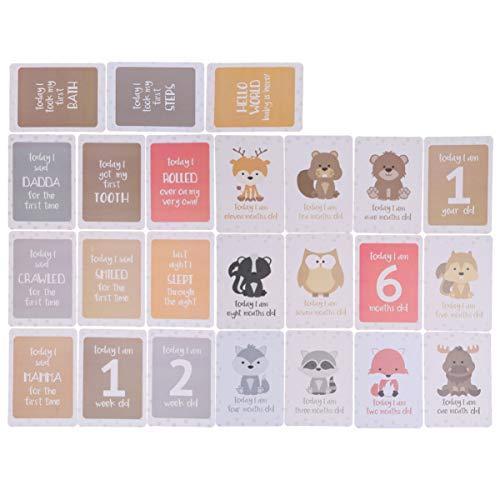 STOBOK tarjetas de fotos para bebés tarjetas de hitos mensuales de dibujos animados encantadores accesorios de fotografía para recién nacidos
