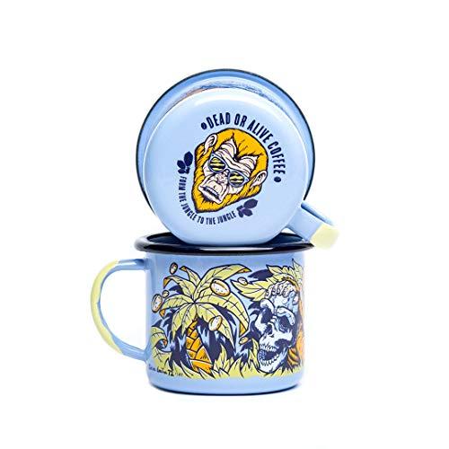 DEAD OR ALIVE Emaille Tasse 350 ml ⎮ unzerbrechlicher Emaille Becher ⎮ hochwertiger Kaffeebecher für Kaffeeliebhaber ⎮ Kaffeetasse (Limited Edition)