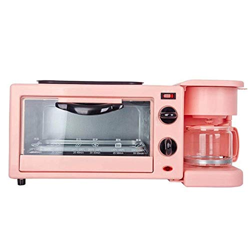 MTWERS Fabricante de Desayuno Máquina de Desayuno Máquina de Desayuno Multifunción Horno Tostadora Hogar Integrado Café automático Huevo Huevo Tostador (Color: Rosa, Tamaño: 26x20.5x17.1cm)