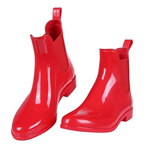 Evshine Women's Short Ankle Rain Boots Lightweight Chelsea Rain Boots Rubber Waterproof Booties (US9,EU40) Red