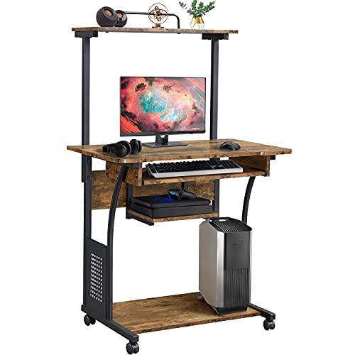 Yaheetech Mesa de Ordenador con Ruedas Escritorio de la Computadora Escritorio para Oficina con Bandeja de Teclado 80x50x132 cm Marrón