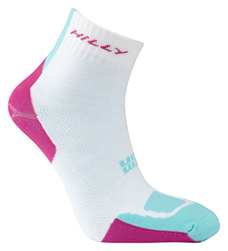 Hilly Women's Twin Skin Anklet Socks, White/Fluro Pink/Aquamarine, Small