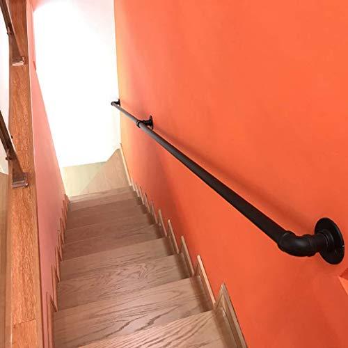 VAN Handlauf Treppengeländer Schmiedeeisen Satinschwarzes Geländer rutschfest Industrie Wandhalterungen Treppen Handläufe Treppenbrüstung-5ft P