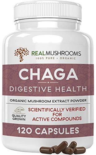 Real Mushrooms Chaga Capsules for Digestive Health & Immune Support (120ct) | Vegan, Organic, Non-GMO Chaga Extract Supplements | Verified Levels of Beta-Glucans