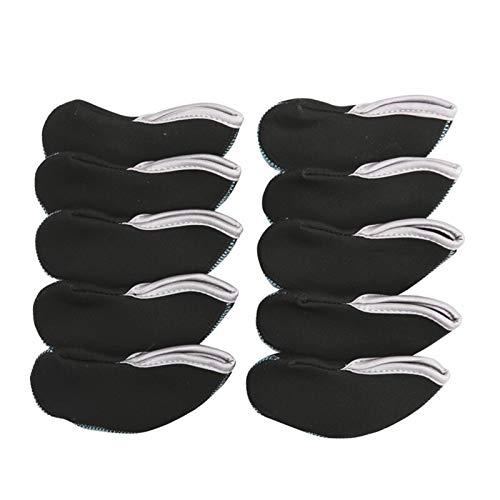 LITOSM Fundas para Cabezas De Golf 10pcs 13,3cm * 5.5cm Club de Golf Putter Ventana Cubierta Protectora del Color del Doble Headcovers Accesorios de Golf (Color : Noir)
