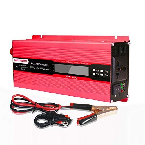 500W/1000W/1500W/2000W Coche Inversor de Energia, DC 12V/24V a AC 220V Convertidor de Coche,con AC Salida Universal y 5V Puerto USB,con Pantalla LED, Adecuado para Ordenador Portátil,teléfono,Cámping