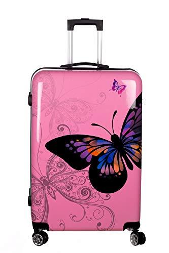 Birendy Reisekoffer Polycarbonat Hartschalen Hardcase Trolley mit Zahlenschloss Koffer Kofferset 4 Rollen einfacher Transport (A1-Pink...